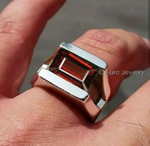 Details about  /Solid 925 Sterling Silver Natural Red Garnet Cut Gemstone  Mens Ring B416