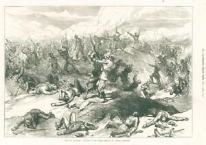 1874-Antique-Print-SPAIN-Capture-Oteiza-Redoubt-General-Moriones-Soldier-268