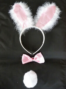 Ears Pink Bunny Accesories tail bow tie