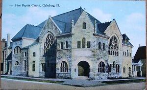 Galesburg-IL-1909-Postcard-First-Baptist-Church-Illinois-Ill