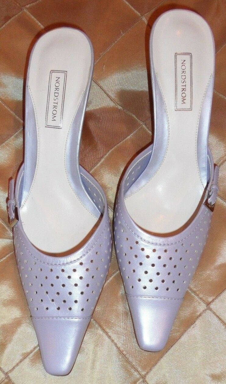 NORDSTROM elegant pearlised lila leather backless slip on schuhe, Größe 7 1 2