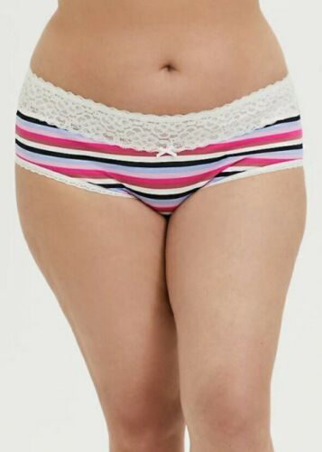 Details about  /Torrid MULTI STRIPE /& WHITE WIDE LACE COTTON CHEEKY PANTY Plus Sizes 0,2,3,4 NWT