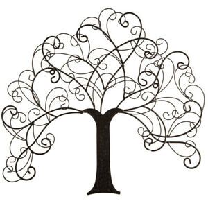 Details About Rustic Black Family Tree Primitive Metal Wall Decor Home Sculpture