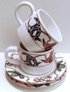 Stoneware-Cup-Saucer-Set-Sakura-Laredo-Western-Tableware-Pottery-Dinnerware