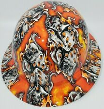 New Full Brim Hard Hat Custom Hydro Dipped Orange Flaming Dice Free Shipping