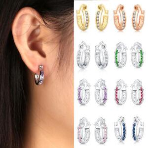 f024940e7e644 Details about Women Crystal Rhinestone U-loop Circle Small Hoop Earrings