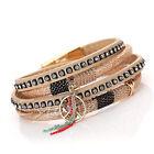 Bohemian Leather Wrap Wristband Cuff Punk Crystal Magnetic Clasp Bracelet Bangle