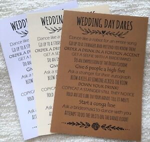 Wedding Day Dares Cards Wedding Games Favours Table Decorations Ebay