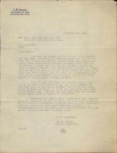 1924 Nacogdoches Texas (TX) Letter S.M. Adams,Attorney at Law Zeno Cox S.M. Adam