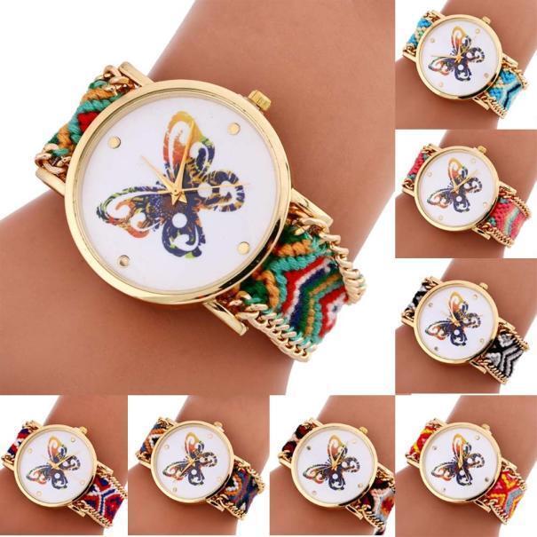 Women Bracelet Watch Colorful Butterfly Pattern Knitted Dial Analog Quartz Watch