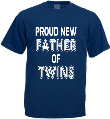 Orgulloso nuevo padre de gemelos de Algodón Camiseta Día Del Padre Regalo Papá Navidad Bebé