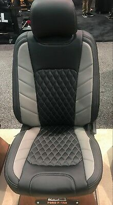 2015-2018 Ford F-150 XLT SuperCrew KATZKIN Leather Seat Cover LIMITED Black Blue