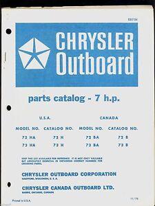 CHRYSLER 7HP OUTBOARD MOTOR PARTS MANUAL / OB 1154 | eBay