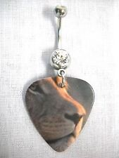 NEW EL LEON - LEO - LION FACE PROFILE GUITAR PICK 14g CLEAR CZ NAVEL BELLY RING