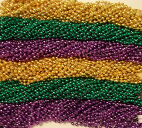 72 Purple Green Gold PGG Mardi Gras Beads Necklaces Party 6 Dz Free Shipping