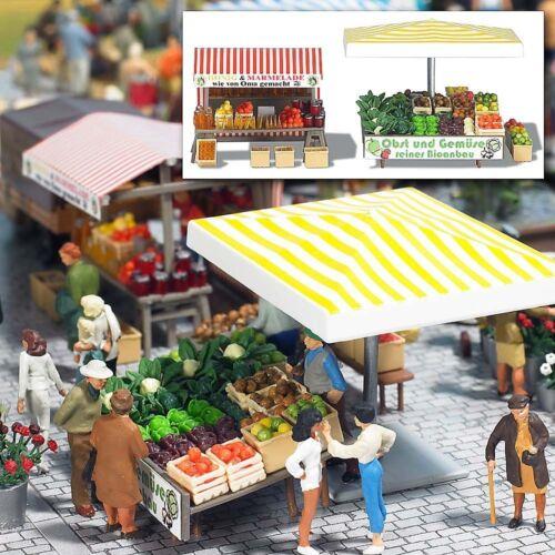 Busch 1071 mercado stand frutas miel h0 #neu en OVP #