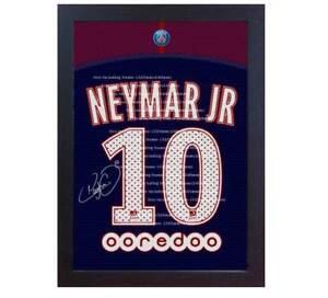 newest afcb6 6c21b Details about Neymar JR Barcelona T-shirt Paris Saint Germain signed CANVAS  print Framed