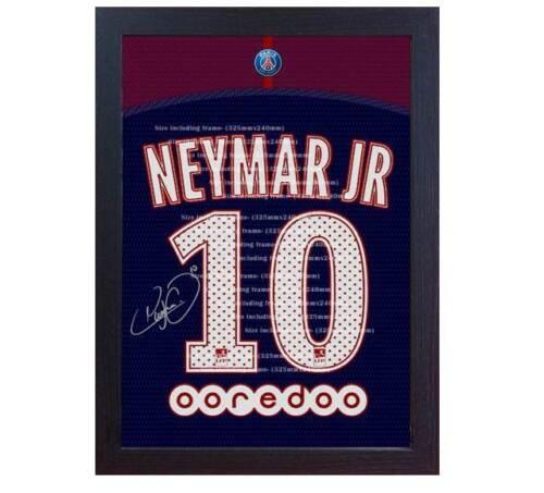 Neymar JR Barcelona T-shirt Paris Saint Germain signed CANVAS print Framed