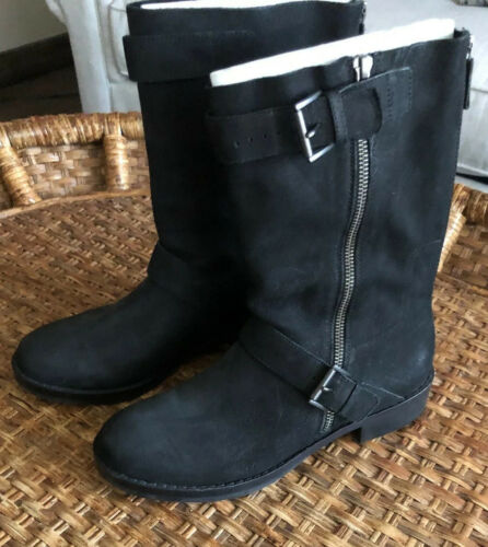 Eileen Fisher Black Moto Boots Nubuck Size 8.5