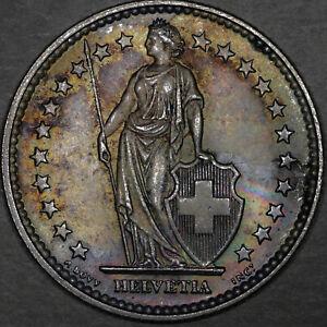 1921-2-Franc-2F-Switzerland-Choice-Uncirculated-Colorful-Toning