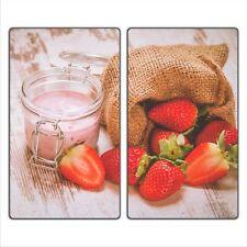 Erdbeere 2 Set Glas Abdeckplatte 2x30x52 Schneidebrett Herdabdeckplatte