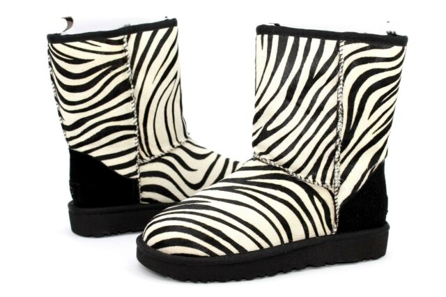 ad4c4487463 UGG Classic Short Exotic Cow Hair Suede Wool Zebra Color Women Boot Size 5  US
