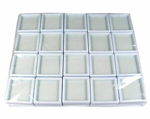 20 PCS WHITE TOP GLASS PLASTIC GEMSTONE JEWELRY COIN DISPLAY JAR