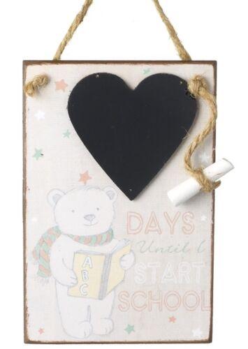 En bois jours jusqu /'au début de l/'école-Compte à rebours cœur tableau plaque signe /& Craie