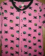 SKULL & Crossbones Nightcap Gothic Punk Pink Footed Pajamas S or L NEW LAST ONES