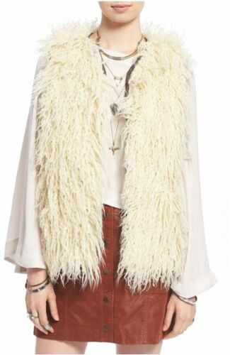 NWT Free People Faux Fur Embroidered Reversible Vest