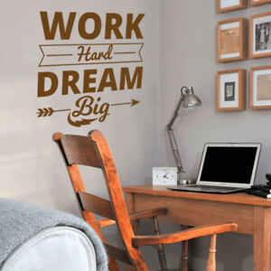 Details about Work Hard Dream Big Wall Sticker Quotes Wall Art Stickers  Bedroom Wall Decals