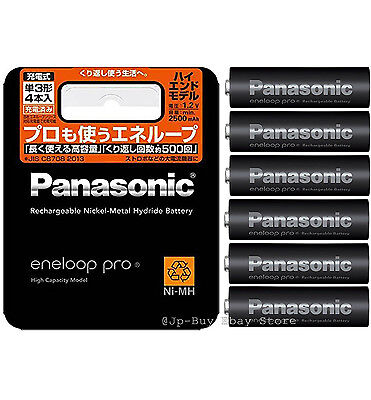 6 Panasonic Eneloop Pro High End Batteries 2500 mAh AA Made in Japan and Ni mh