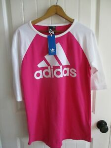 adidas Womens Pink Shirt Dress Size M Medium Sport Raglan Pullover ...