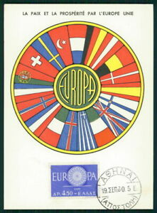 Original La Grèce Mk 1960 Europe Cept Maximum Carte Carte Maximum Card Mc Cm Ec59-afficher Le Titre D'origine