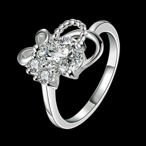 925 Sterling Silver Fashion Jewelry Zircon Papillon Nœud Femmes Anneau #7#8 SPR037