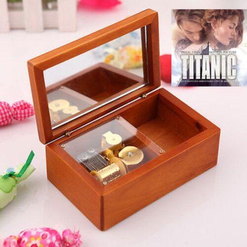 Rectangle jewelry Wood Wind Up  Music Box  ♫ TITANIC MAIN THEME SOUNDTRACK