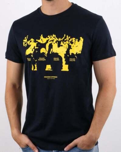 Weekend Offender Riot T Shirt en Bleu marine-manches courtes ras-du-cou en coton tee