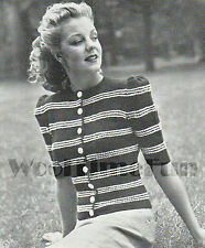Vintage 50s Knitting Pattern Lady/'s Evening Jumper With Beaded Or Plain Yoke.
