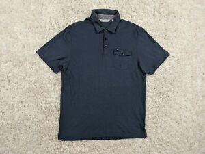 Travis-Mathew-Pima-Cotton-Rayon-Polo-Shirt-Men-Large-Blue-Pocket-Golfer