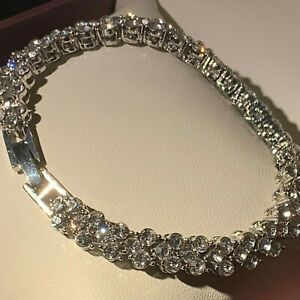 White-Gold-Bracelet-Sim-Diamond-Swarovski-Elements-6-75-034-17cm-RRP-49-99-BOXED
