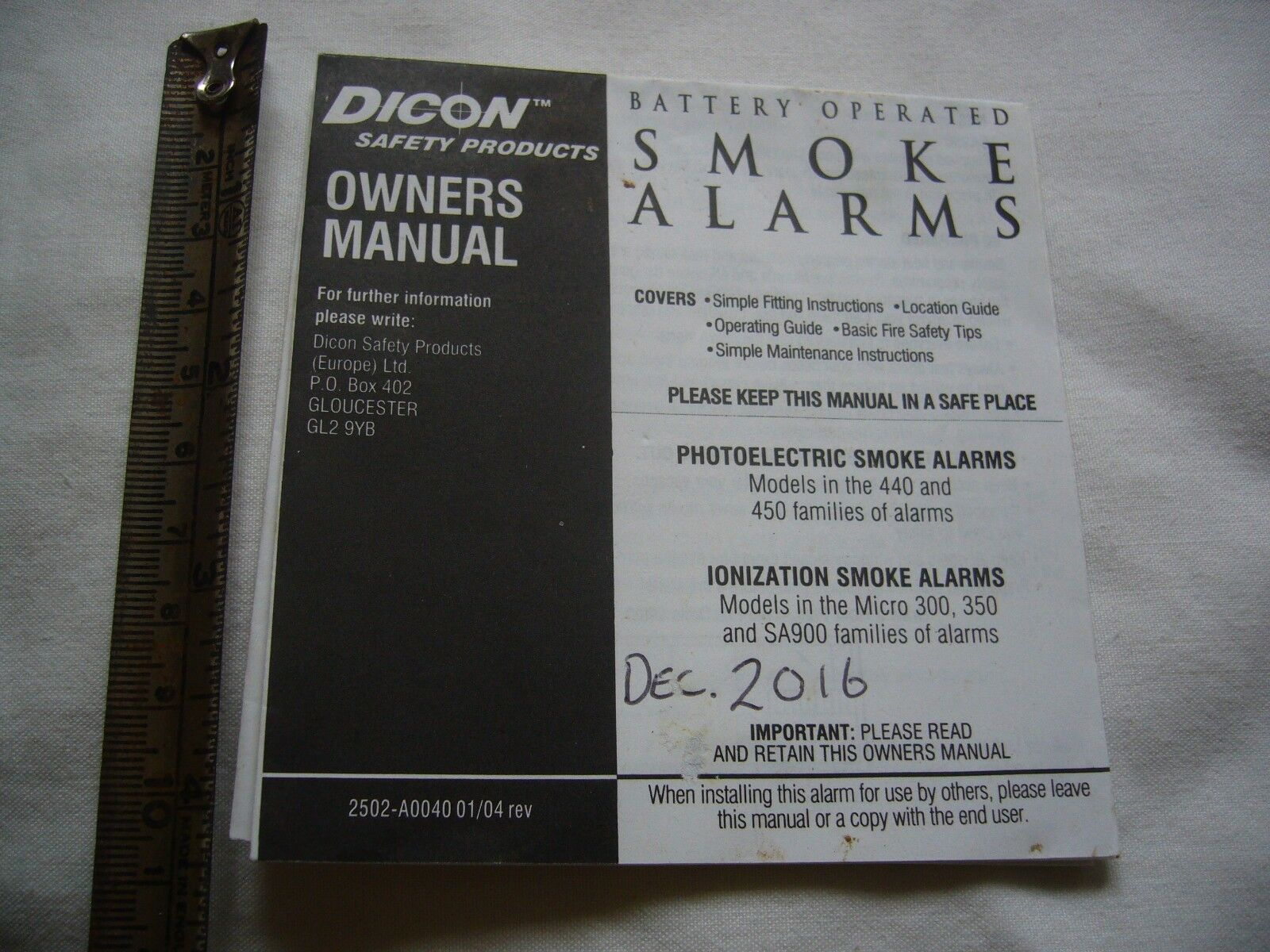 Dicon smoke alarm instructions