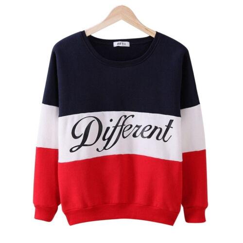 Neu Damen Langarm Pullover Pulli Sweatshirt Hoodie Strick Streifen Buchstaben JO