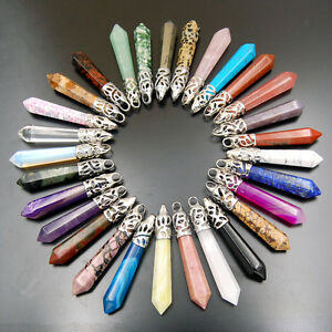 Natural-Gemstones-Hexagonal-Pointed-Reiki-Chakra-Healing-Pendant-Charms-Beads