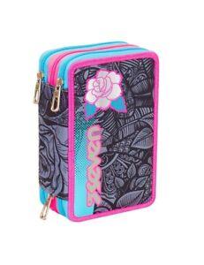 ASTUCCIO scuola SEVEN - ROSES GIRL - 3 scomparti - pennarelli matite gomma ecc..