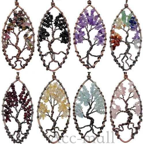 Natural Gemstone Amethyst cristal de quartz Arbre De Vie Collier Pendentif