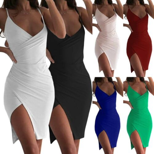 Women/'s Bodycon Dress Summer Strappy Evening Party Cocktail Wrap V Neck Sundress
