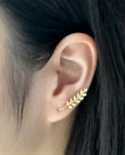 Pair Of Gold Plated Leaves Ear Cuff Stud Leave Earrings Climber Rings gd ecf26