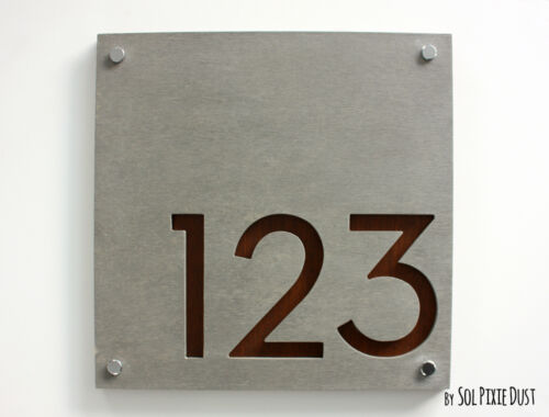 Modern House Numbers Door Number Square Concrete with Wood Sign Plaque