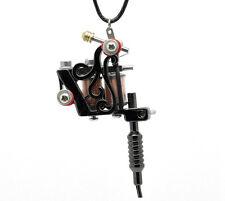 "Steampunk Gothic Gunmetal Mini Tattoo Machine Necklace Pendant Gift 17-3/4"""