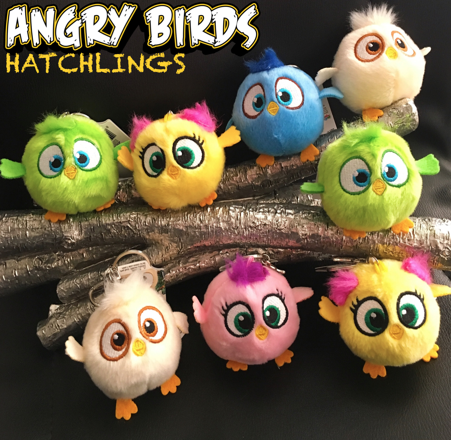 Angry Birds Hatchlings Keychain Pink Lime Green Yellow Blue Tan Bird Plush Toy Ebay